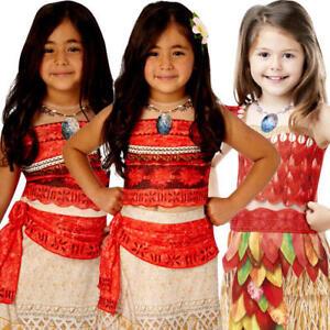 Moana Princess Girls Fancy Dress Hawaiian Book Day Kids Cosplay Costume Necklace