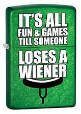 """Zippo """"It's All Fun & Games-Lose a Weiner"""" Meadow Green"""" Lighter, 29345"""
