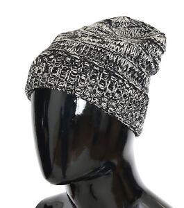 7356114d996 NEW  240 DOLCE   GABBANA Hat Beanie Wool Gray White Winter Warm Mens ...