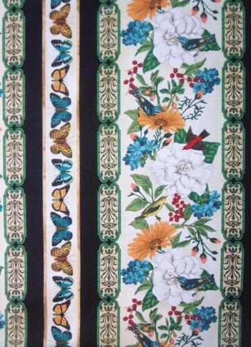 Modern Curiosity Stripe Bird Butterfly Flower Timeless Treasures Fabric 33/""
