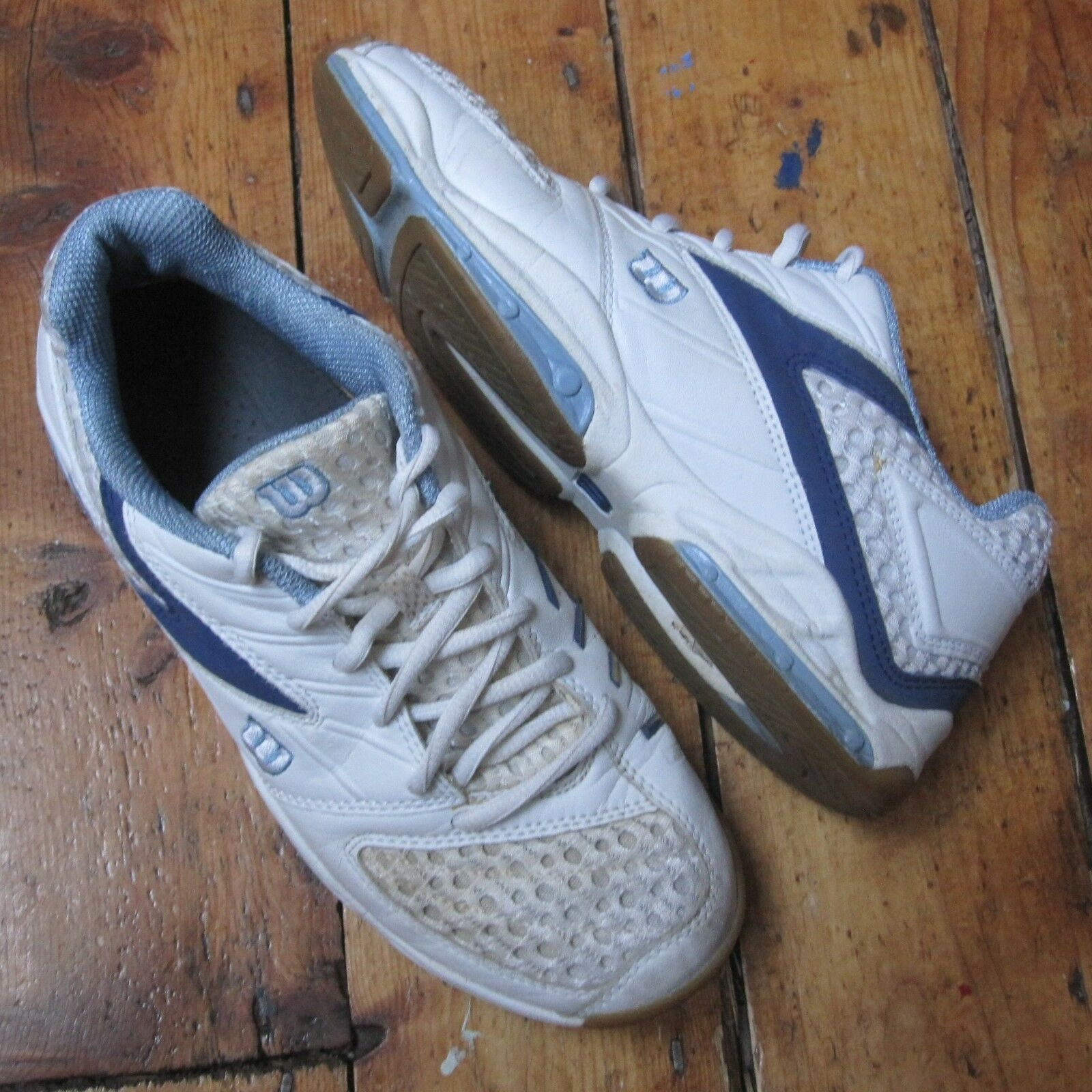Wilson Size Vintage Tennis Shoes Trainers White Blue UK Size Wilson 6.5 Retro 90s? Unisex 278ca6