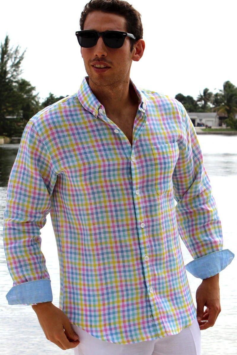 Bohio men's long sleeve 100% linenshirt. FREE ShippingPink bluee Green Plaid