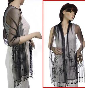 Beaded-Rectangular-Oblong-Evening-Party-Costume-Shawl-Scarf-Wrap-Mesh-Sequins
