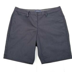 Lands End Womens Mid Rise Chino Shorts Size 12 X 9 Black Bermuda Petite Stretch