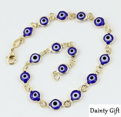 Anklet 18K Gold Filled Dainty Blue Evil Eye Anklet