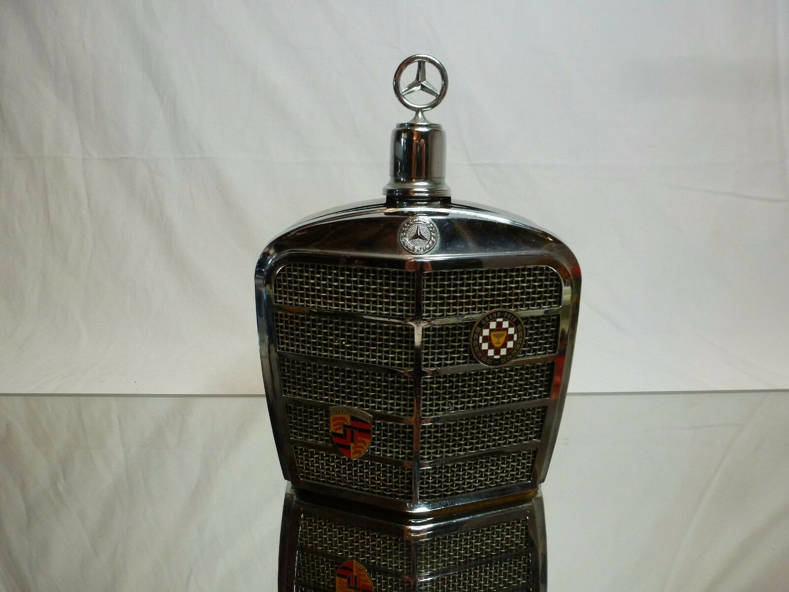 VINTAGE GLASS BOTTLE - MERCEDES BENZ RADIATOR H19.5cm - GOOD - EXTREMELY RARE