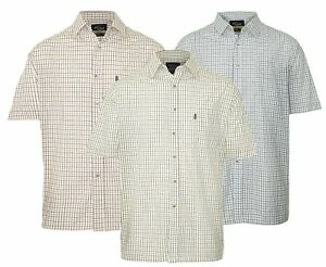 Men-039-s-Champion-Tattersall-poly-Cotton-Check-Short-Sleeve-Check-Shirt-UK-M-3XL