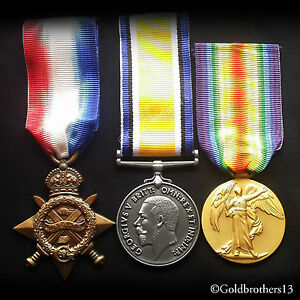 WW1-Medals-Trio-1914-15-Star-British-War-amp-Victory-Medal-British-Repro