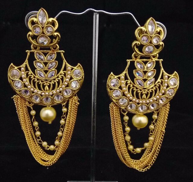 Bollywood Celebrity Latest 18K Indian Pearl White CZ Long Dangle Earrings 2p Set