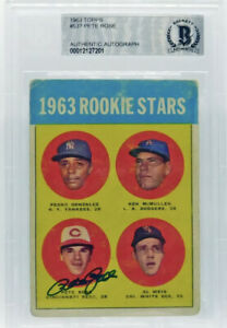 PETE ROSE SIGNED TOPPS 1963 ROOKIE CARD #537 $Investment Card🔥BECKETT AUTHENTIC