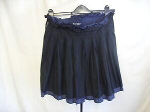 Ladies-Mini-Skirt-ARMANI-JEANS-UK8-double-layer-blue-black-pleated-waist-7000