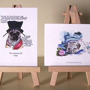 2-ACEOs-whos-who-of-pugs-from-a-pug-of-the-Emperor-to-Marie-Antoinette-mini-art