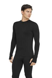 Merino Zwart shirt met Heren Wool kwaliteit 95 Geschenkdoos Extra T Duimgaten mouwen lange aqf4Cw