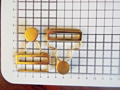 Conjunto Peto Sujetadores Clip Brace Hebillas en oro Slider Babero Para Las Correas 40 mm