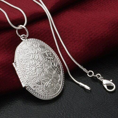 Nuevo UK PLT Colgante Plata Esterlina 925 Collar de Cadena Regalo Foto Foto Medallón