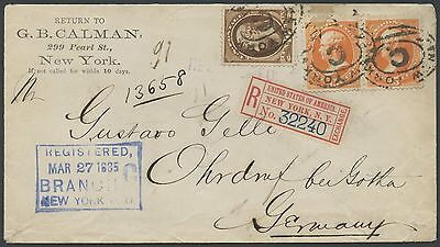 #189 (2x), #209 ON REGISTERED COVER 1885 NEW YORK TO GERMANY BS2289