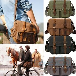 26cb231d8f Men s Military Canvas Leather Satchel School 14