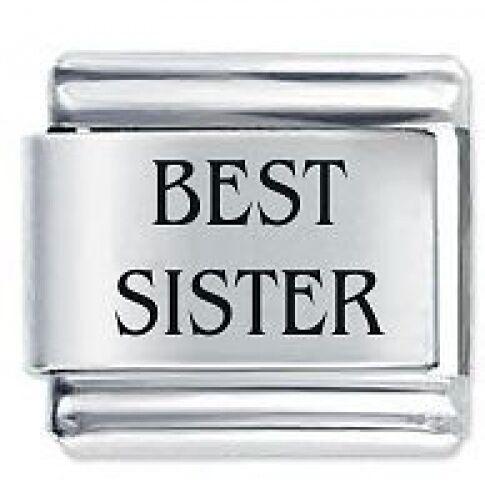 BEST SISTER Family- Daisy Charms by JSC Fits Classic Size Italian Charm Bracelet