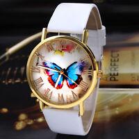 Womens Fashion Watches Bling Butterfly Leather Band Analog Quartz Wrist Watch UK
