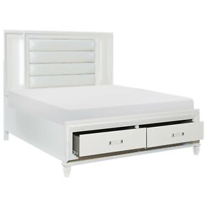 White Mirrored Led Lights Queen, Queen Size Headboard With Storage And Lights