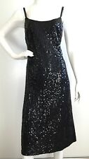 Vintage Mollie Parnis Boutique Black Sequin Dress / Size L (Retail $799)