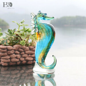 Blue-Crystal-Seahorse-Handmade-Collectible-Glass-Blown-Animal-Figurine-Art-Gifts