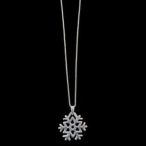 Snowflake-Shaped-Charm-Polished-Sterling-Silver-Pendant-On-Chain-Necklace