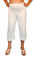 White Maternity Capris Womens Belly Elastic Band Confortable Solid Cargo