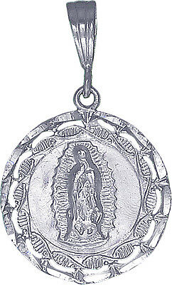 Sterling Silver Virgin Mary Charm Pendant Necklace Diamond Cut Finish with Chain