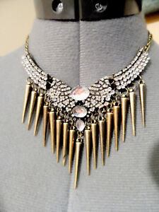 1de4ffe07406 Image is loading New-RHINESTONE -Cluster-Encrusted-Bib-Necklace-Statement-Choker-