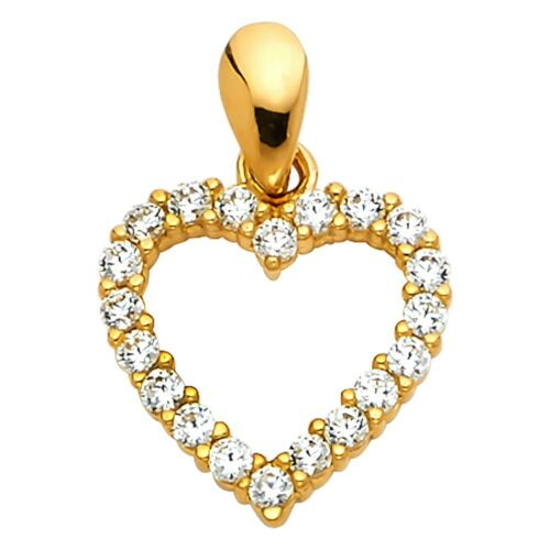 14K Or Jaune Coeur Ouvert Zircone Cubique Pendentif Charme