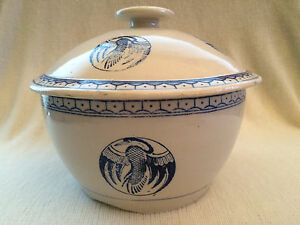 Salt-Glazed-Crockery-Bowl-w-Blue-Phoenix-Bird-Decoration