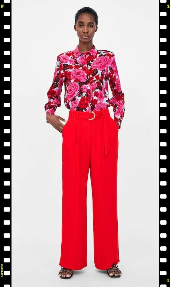 Zara woman PALAZZO TROUSERS WITH BELT med 1478032 nwt