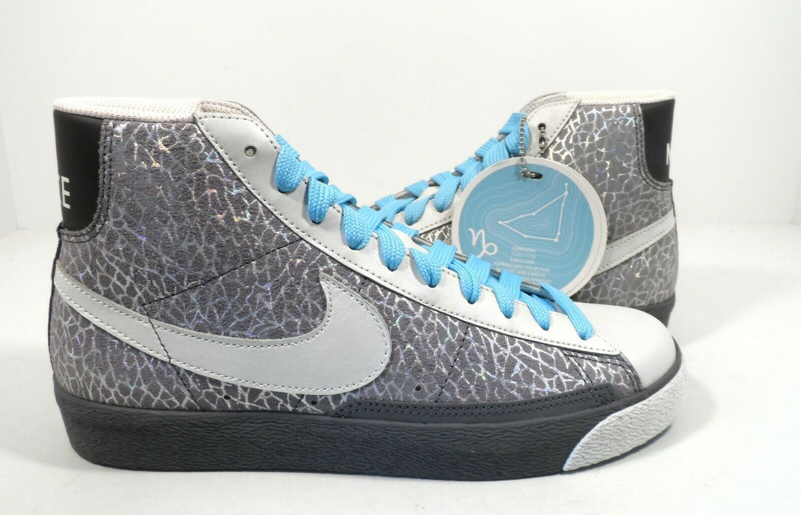 Nike Women's Blazer High Cool Grey Metallic Summit White Powder bluee Size 11