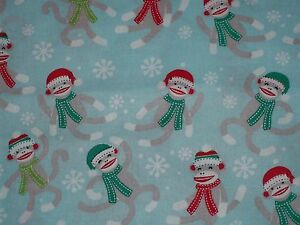 Handcrafted Cotton Fitted Crib Sheet Sock Monkeys Blue Red Green