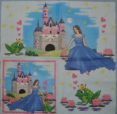 KIDS PRINCES PAPER TABLE NAPKINS FOR CRAFT VINTAGE DECOUPAGE TEA PARTIES 132