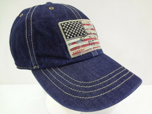 e2e7a1b0b3cd4 Polo Ralph Lauren Vintage USA Flag Chino Baseball Cap Hat Leather Strap Navy  for sale online