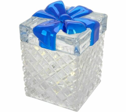 Illuminated Faceted Glass Present with Bow in color Blue **NEW**