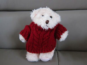 STUFFED-PLUSH-TOY-COLLECTIBLES-MINI-PINK-BEAR-IN-RED-SWEATER