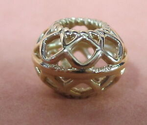 Real 925 Sterling Intricate Lattice Clear CZ World Ball Charm Authentic#791295CZ