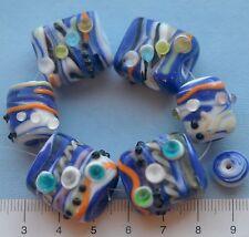 6 x chunky, swirly, blue, multi, rectangle/tube lampwork, glass beads 56 gms.109