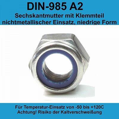 x100 M4 Sicherungsmuttern Klemmmuttern DIN 985 Edelstahl A2 V2A