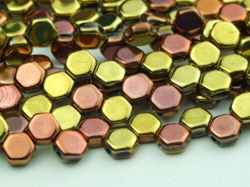 30x Czech Honeycomb Beads 6mm Hexagonal 2 Hole Jet Calif Gold