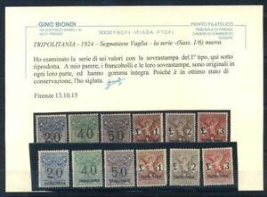Tripolitania-1924-Sass-1-6-Nuovo-100-Biondi-cert-Segnatasse-per-Vaglia