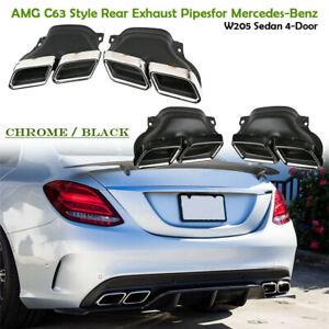 Chrome-Noir-Embouts-d-039-echappement-pour-Mercedes-Benz-C-Classe-W205-AMG-C63-14-19