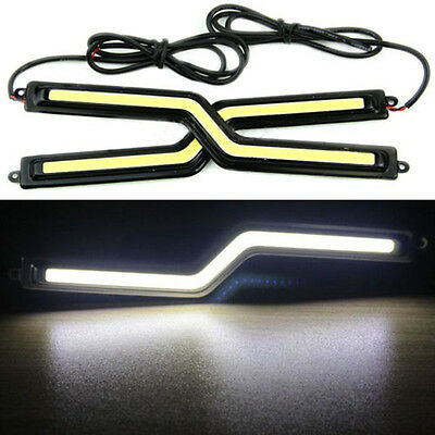 2x 18cm White COB Car Z tapy LED Lights 12V For DRL Fog Driving Lamp Waterproof