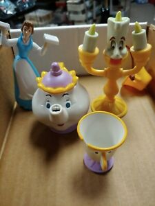 Beauty-and-the-Beast-Figurines-Mrs-Potts-Chip-amp-Lumiere-amp-Belle-McDonald-039-s