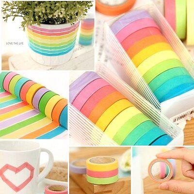 10x Rainbow Washi Sticky Paper Masking Adhesive Decorative Tape Scrapbooking Set