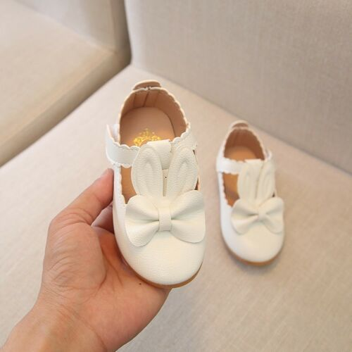 Child Kid Girls Rabbit Bowknot Leather Shoes Wave Princess Single Party Shoes UK
