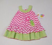Jessica Ann Chevron & Gingham Frog With Raised Flower Dress Sz 2t